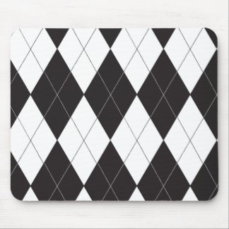 Black and White Argyle Mouse Pad