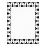 Black and White Argyle Pattern Personalized Letterhead