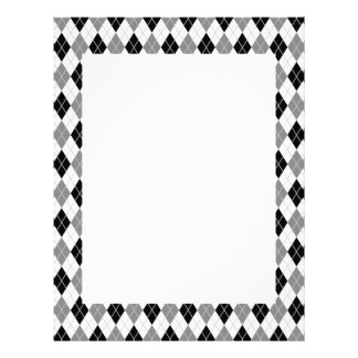 Black and White Argyle Pattern Letterhead