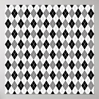 Black and White Argyle Pattern Print