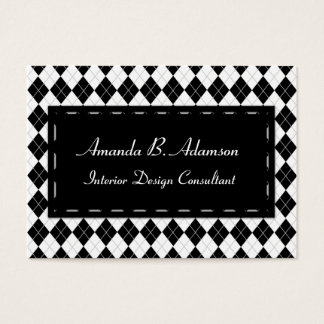Black and White Argyle Plaid Harlequin Pattern Business Card