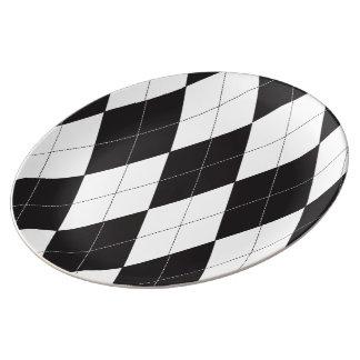 Black and White Argyle Plate