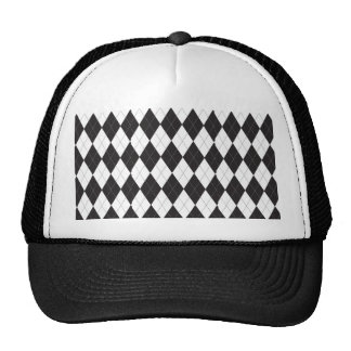 Black and White Argyle Trucker Hat