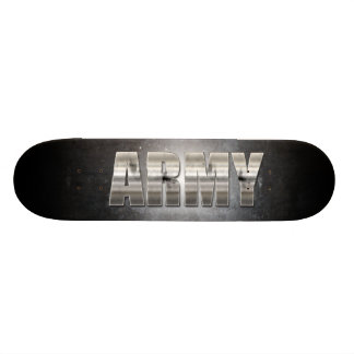 Black and White Army Text Skateboard