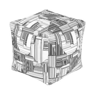 Black and White Art Deco Cube Pouf
