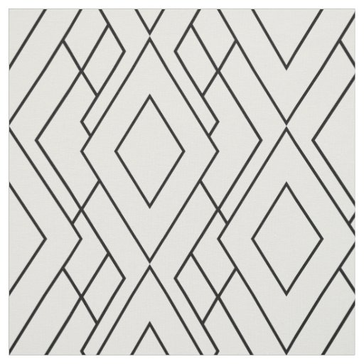 Black and White Art Deco Diamond Pattern Fabric Zazzle