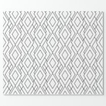 Black and White Art Deco Diamond Pattern Wrapping Paper