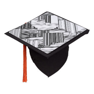 Black and White Art Deco Graduation Cap Topper