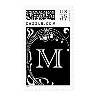 Black and White Art Deco Monogram Initial Postage