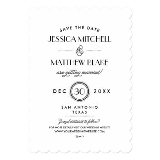 Black and White Art Deco Monogram Save the Date Card