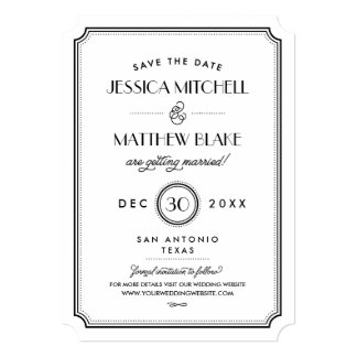 Black and White Art Deco Monogram Save the Date 5x7 Paper Invitation Card