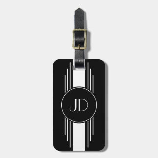 Black and White Art Deco Monogrammed Luggage Tag