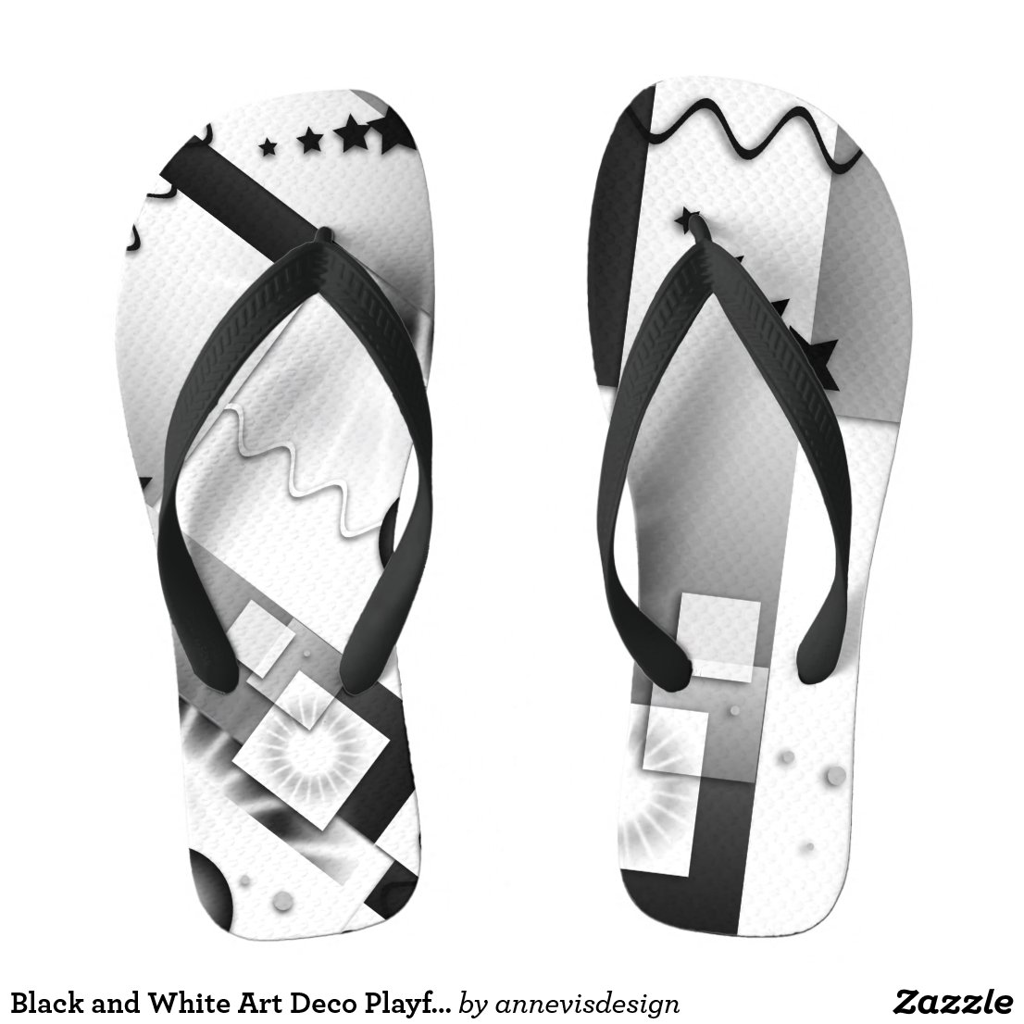 Black and White Art Deco Playful Flip Flops
