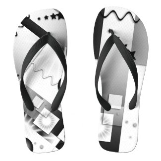 Black and White Art Deco Playful Flip Flops