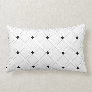 Black and White Art Deco Squares Pattern Lumbar Pillow