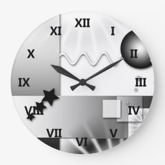 Black and White Art Deco Style Wall Clock
