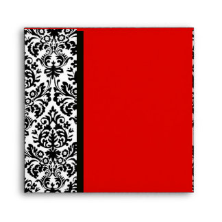 BLACK AND WHITE ART NOUVEAU DAMASK Red Envelope