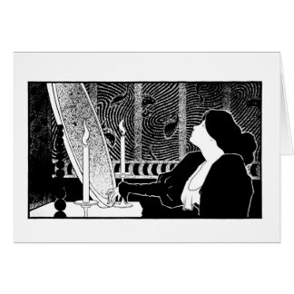 Black and white art nouveau woodcut The Mirror Card