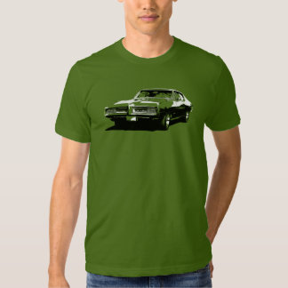 Black and white art of 1968 GTO on colored t-shirt