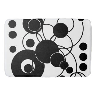 Black and White Artsy Abstract Bathroom Mat