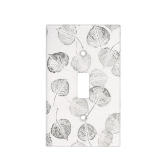 Black and White Aspen Leaf Prints Light Switch Plate