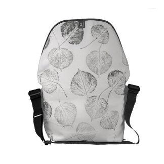 Black and White Aspen Leaf Prints Small Messenger Bag