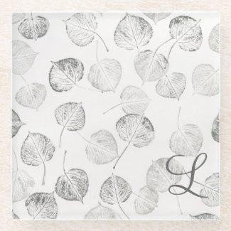 Black and White Aspen Leaves Monogram