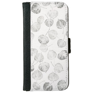 Black and White Aspen Leaves Pattern iPhone 6/6s Wallet Case
