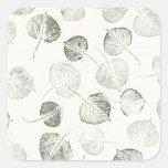 Black and White Aspen Leaves Pattern Square Sticker