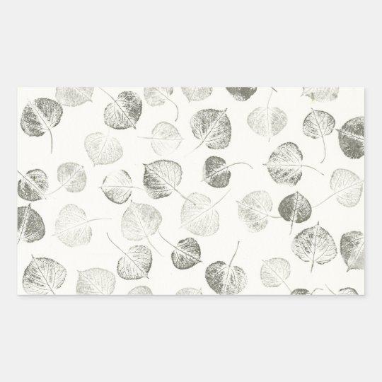 Black and White Aspen Leaves Rectangular Sticker