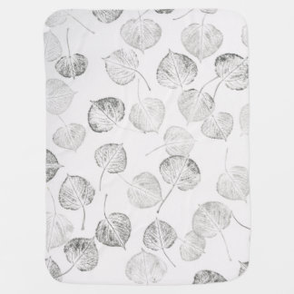 Black and White Aspen Leaves Stroller Blanket