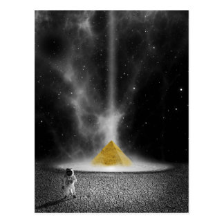 Black and White Astronaut and Golden Pyramid Postcard