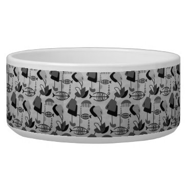 Beach Themed Black and White Atomic Pattern Ceramic Pet Bowl