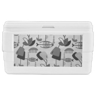 Black and White Atomic Pattern Chest Cooler