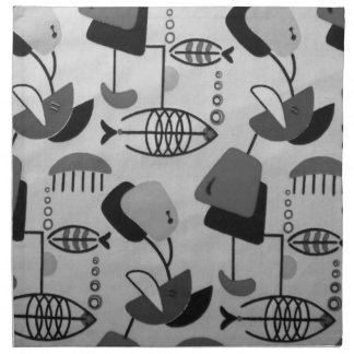 Black and White Atomic Pattern Cloth Napkins