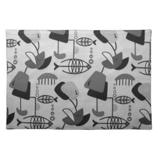 Black and White Atomic Pattern Cloth Placemat