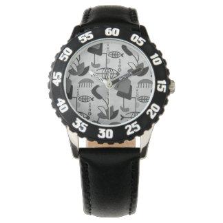 Black and White Atomic Pattern Kid's Watch