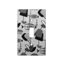 Black and White Atomic Pattern Light Switch Cover