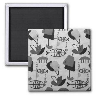 Black and White Atomic Pattern Magnet
