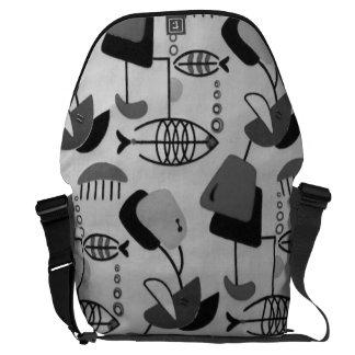 Black and White Atomic Pattern Messenger Bag