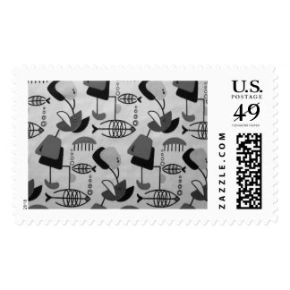 Black and White Atomic Pattern Postage Stamps