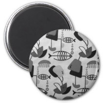 Black and White Atomic Pattern Round Magnet