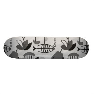 Black and White Atomic Pattern Skateboard