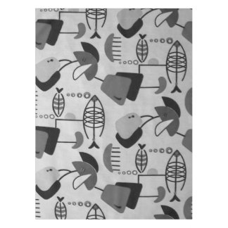 Black and White Atomic Pattern Tablecloth