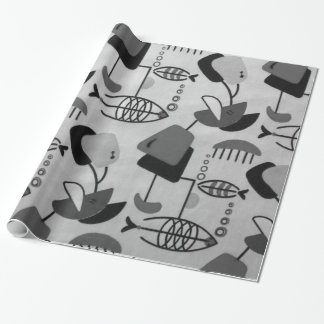 Black and White Atomic Pattern Wrapping Paper