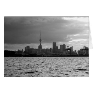 Black and White Auckland Skyline Greeting Card