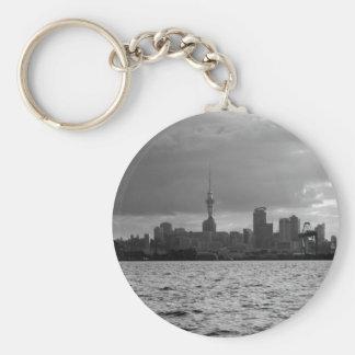 Black and White Auckland Skyline Keychain