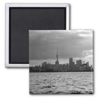 Black and White Auckland Skyline Magnet