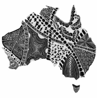 Black and White Australia Map Art Original Cutout