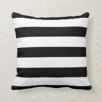 Black and White Awning Stripes Throw Pillow